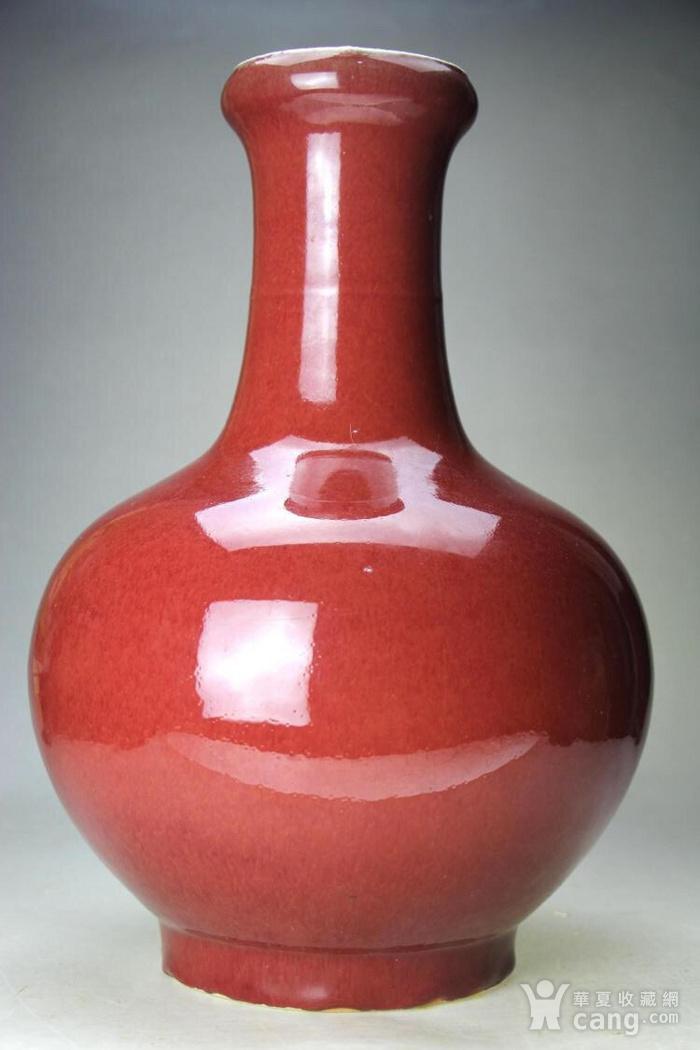 大清精品郎红釉洗口大赏瓶图1