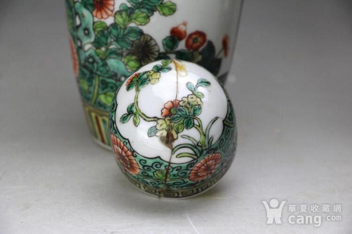 清光绪五彩花卉纹萝卜盖罐一对图7