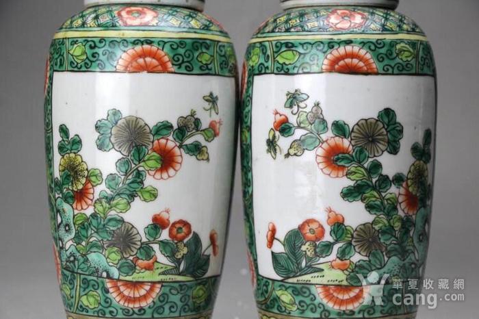 清光绪五彩花卉纹萝卜盖罐一对图5