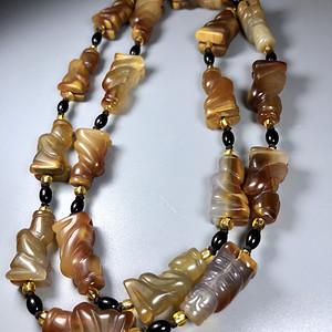 精品古珠 清代老玛瑙贵人项链一条