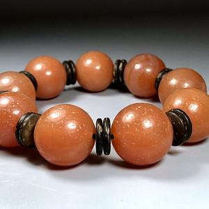 精品 收藏级古珠 清代老玛瑙樱桃红珠串一条