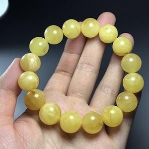 保真正品 支持鉴定天然波罗的海蜜蜡圆珠手串一条