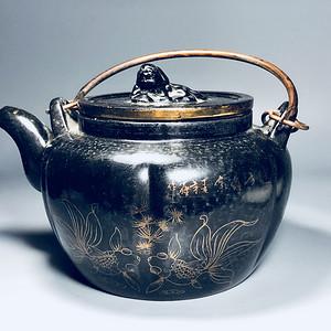 精品 清代老紫砂加彩茶壶一把