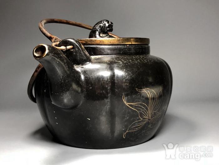 精品 清代老紫砂加彩茶壶一把图4