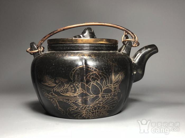 精品 清代老紫砂加彩茶壶一把图6