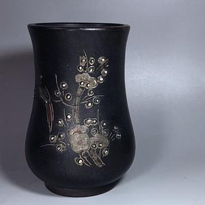 精品 清晚期老紫砂花瓶一只