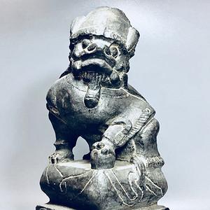 精品石雕收藏 清代老青石瑞兽石狮