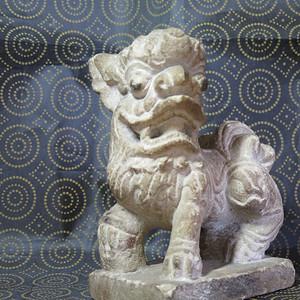 清代文案石狮子塑像