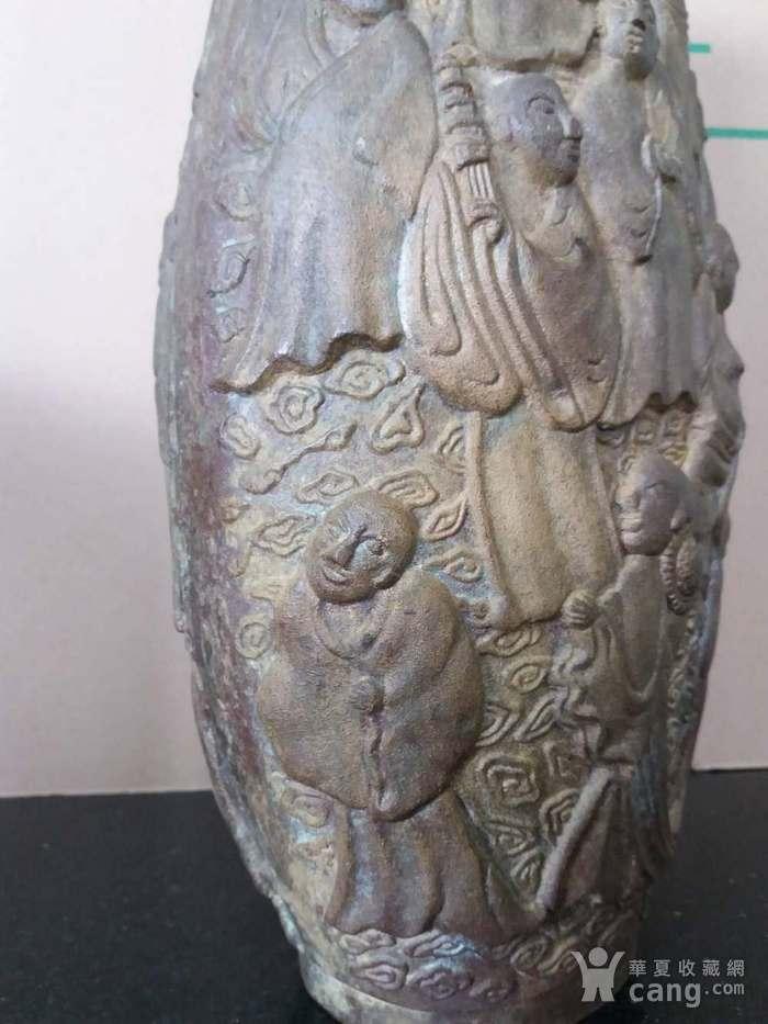 清代十八罗汉铜橄榄瓶图7