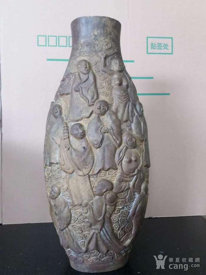清代十八罗汉铜橄榄瓶图3