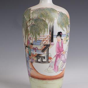 欧洲回流粉彩人物薄胎花瓶