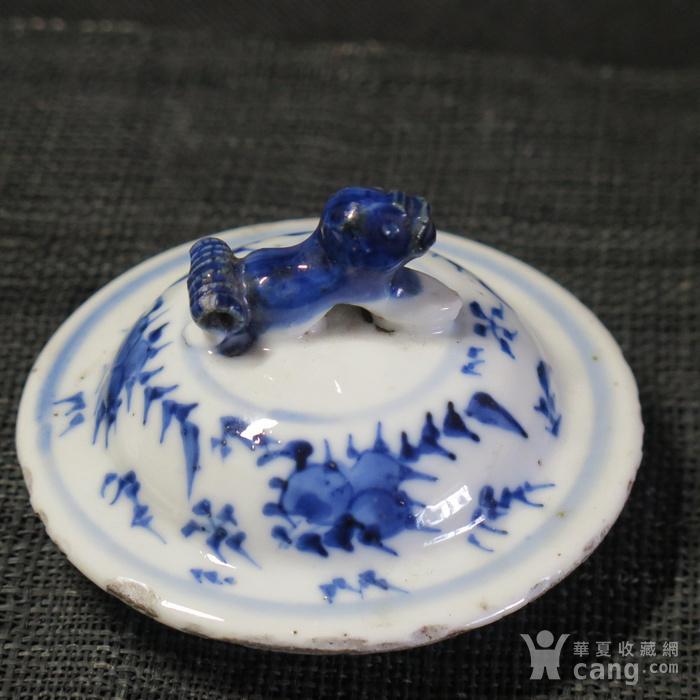 清代福寿青花盖罐盖一对图9