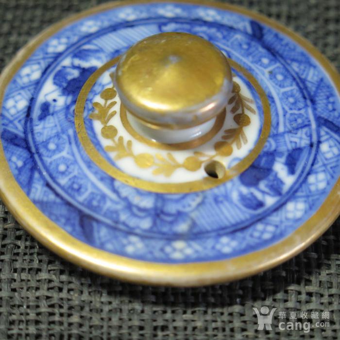 清代乾隆青花描金茶壶盖图2
