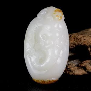 苏工精雕 新疆和田玉籽料羊脂白玉把件 称相拜侯