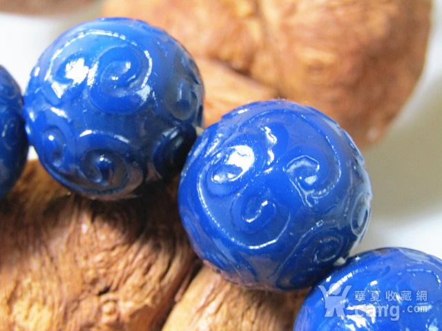 回流 宝石蓝玛瑙 如意头纹饰 圆珠 手串包浆熟厚图2