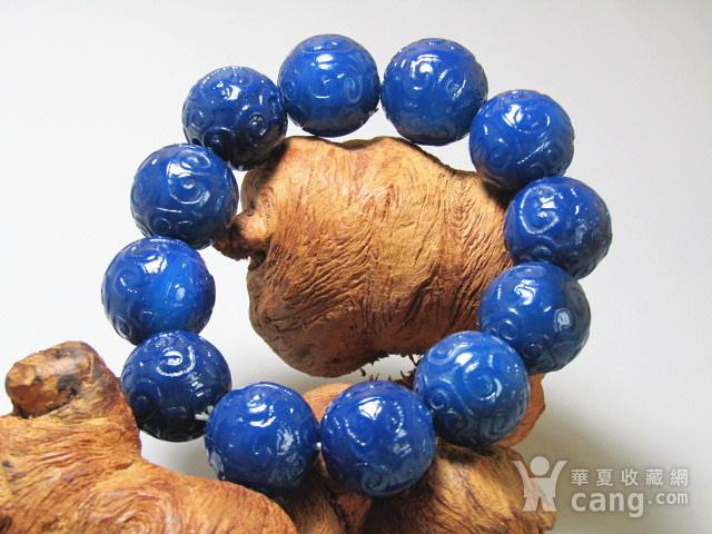 回流 宝石蓝玛瑙 如意头纹饰 圆珠 手串包浆熟厚图3