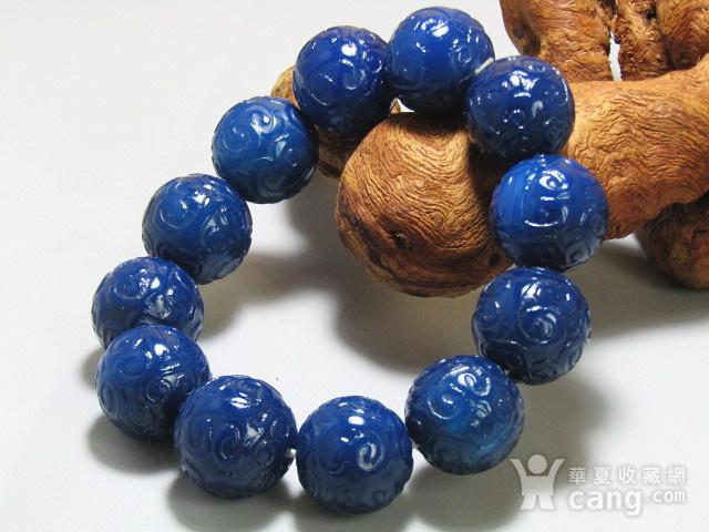 回流 宝石蓝玛瑙 如意头纹饰 圆珠 手串包浆熟厚图5