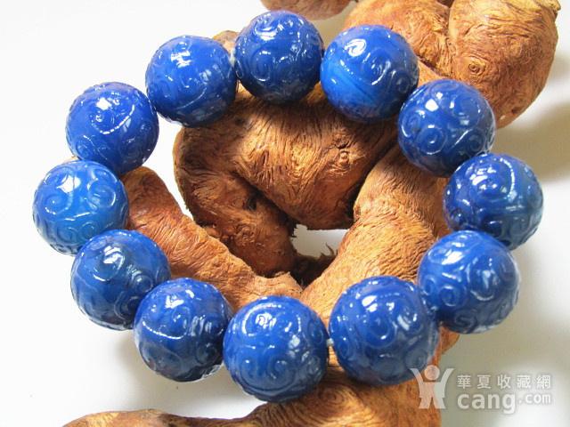 回流 宝石蓝玛瑙 如意头纹饰 圆珠 手串包浆熟厚图4