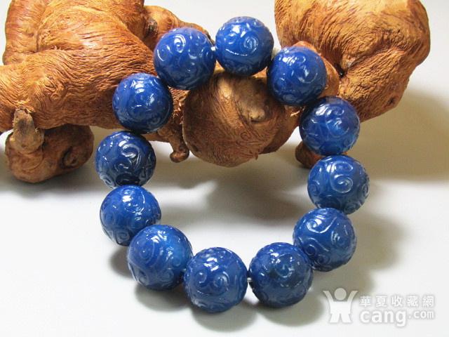 回流 宝石蓝玛瑙 如意头纹饰 圆珠 手串包浆熟厚图1