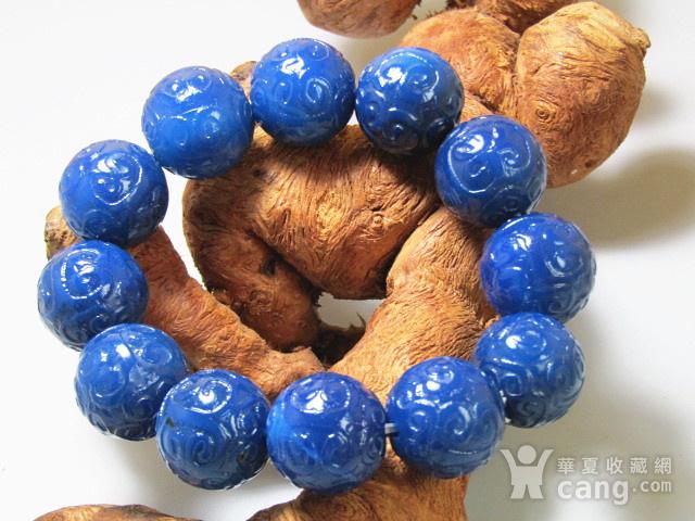 回流 宝石蓝玛瑙 如意头纹饰 圆珠 手串包浆熟厚图6