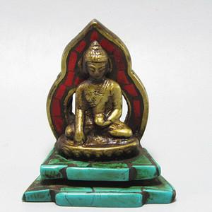 藏传老铜 手工斩刻绿松石珊瑚镶嵌 藏佛 包浆老厚 工艺细致