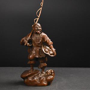联盟 旧藏小叶黄杨木雕渔翁得利人物摆件