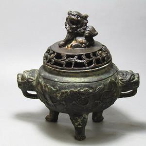 带款 老铜 熏香炉 手工打造 包浆厚重