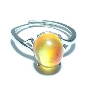 天然 丹麦 蜜蜡戒指 925纯银托 手工打磨