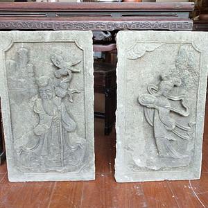 重器  青石雕刻人物石板一对