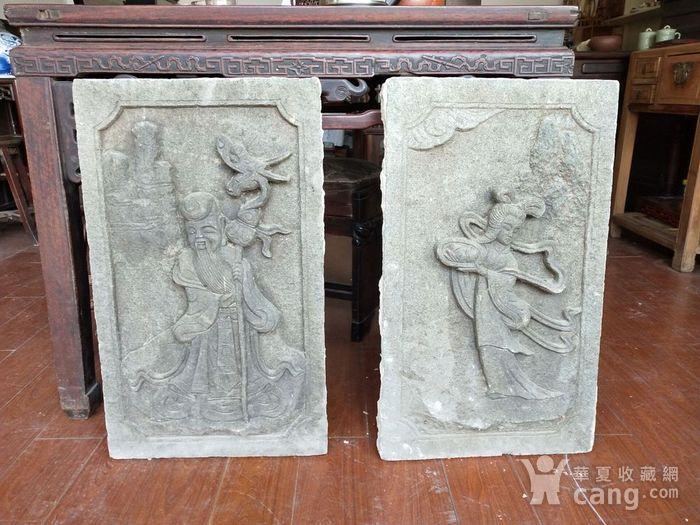 重器  青石雕刻人物石板一对图1