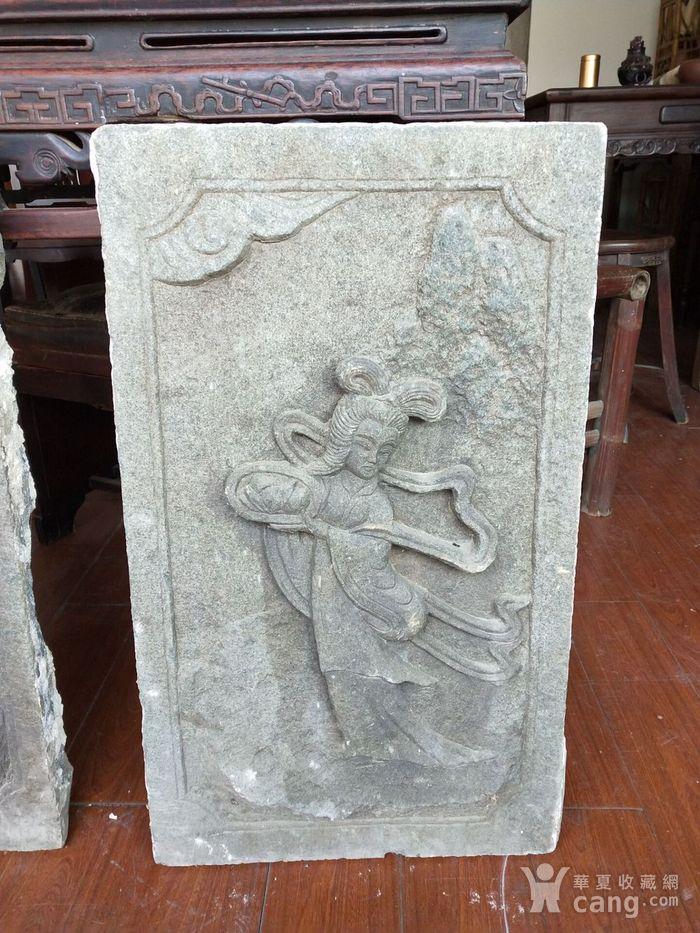 重器  青石雕刻人物石板一对图2