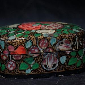 印度传统手绘实木首饰盒 有底款
