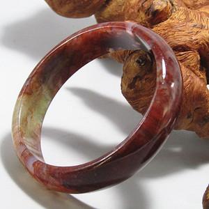 玛瑙满朱砂 宽条手镯手环