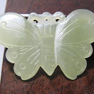 创汇时期 和田玉 蝴蝶挂件 玉质细腻油润45x28x3mm
