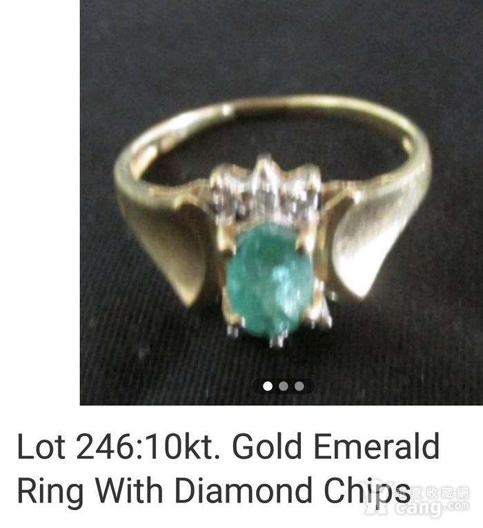美国回流的祖母绿镶嵌钻石戒指图1