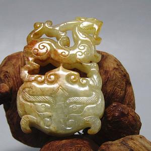 明和田玉麒麟蟠龙 双面玉佩 沁色自然 包浆老道