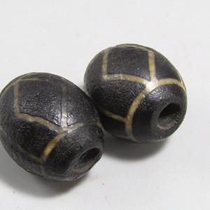 西亚玛瑙 珠 一对 包浆老厚