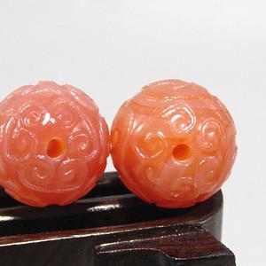 回流南红玛瑙如意元宝 珠 两颗 包浆熟厚