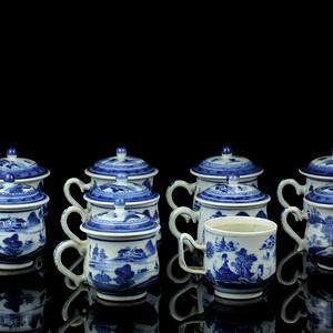 60清中期青花通景山水纹盖杯一组10件套