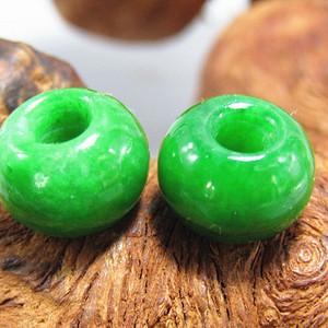 清老坑翡翠 满绿 珠 两颗 水头十足