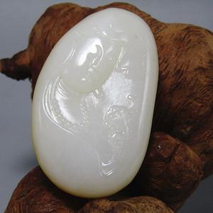 和田羊脂级白玉原皮籽玉 苏作观音挂件 润度白度极佳