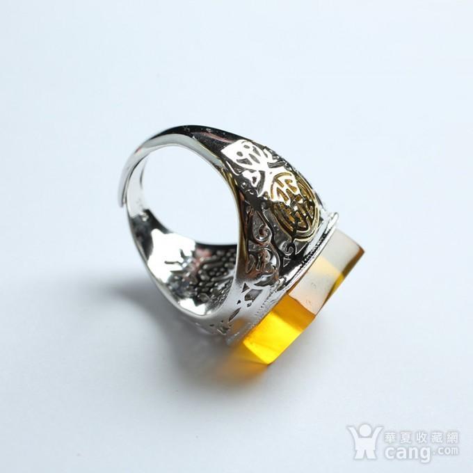 净水金珀阴雕龙腾银戒指 10KJ06图4