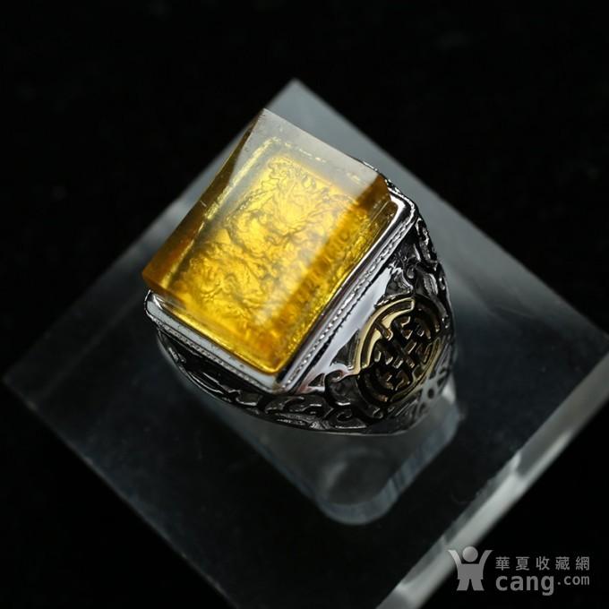 净水金珀阴雕龙腾银戒指 10KJ06图6