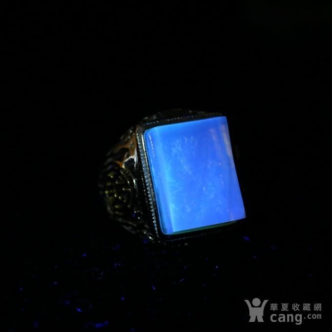 净水金珀阴雕龙腾银戒指 10KJ06图11