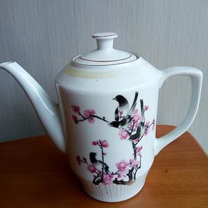 联盟 文革粉彩喜鹤造梅茶壶
