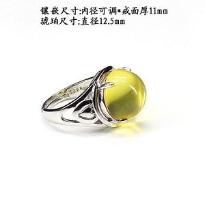 琥珀戒指 银镶嵌6367