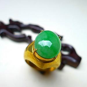 联盟 自然光实拍!天然A货好种绿戒指