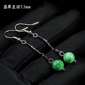 翠绿翡翠圆珠耳饰 银镶嵌1272