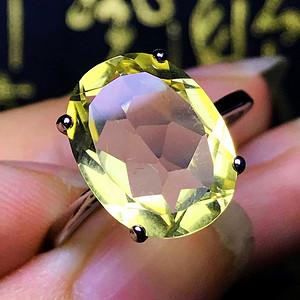 国庆福利半价起拍!天然巴西黄水晶宝石刻面925纯银镀18K金戒指