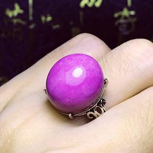 美国进口纯天然原矿紫云母漂亮丁香紫大蛋925纯银镀18K白金戒指